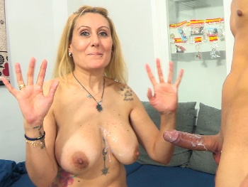 'Is that ENORMOUS DICK for me alone??' Nuria and her ENORMOUS TITS are back to EAT UP a well-hung rookie