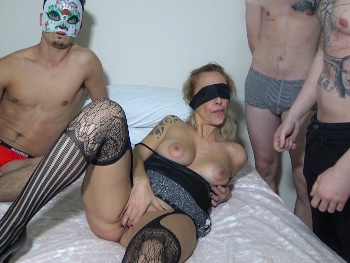 Part 2: The pussy's prepared, THREE COCKS hard as rocks. Guys, come to mama ;)